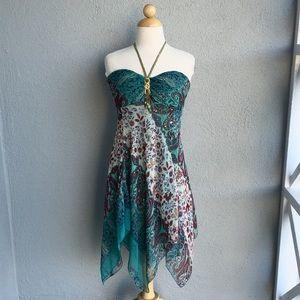 Dresses - Uneven Teal Boho Halter Dress Size L